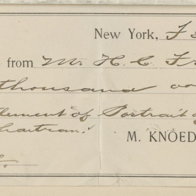 Receipt from M. Knoedler & Co., 3 February 1898