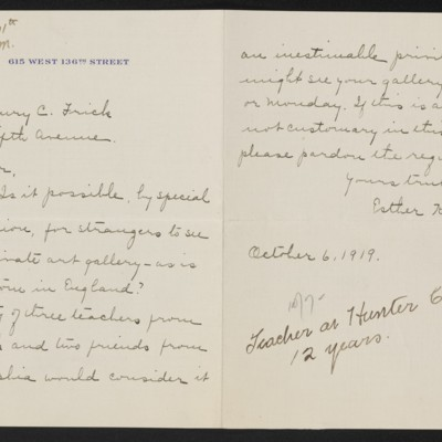 Letter from Esther Keagey to Henry C. Frick, 6 October 1919