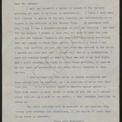 Letter from [Henry Clay Frick] to Joseph Duveen, 21 May 1918