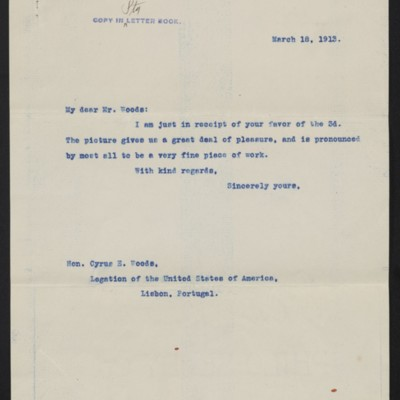 Letter from [Henry Clay] Frick to Cyrus E. Woods, 18 March 1913
