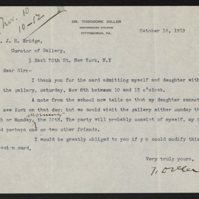 Letter from Theodore Diller to J.H. Bridge, 16 October 1919