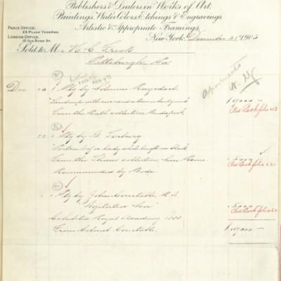 M. Knoedler & Co. Invoice, 31 December 1903