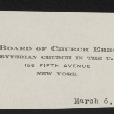 Fragment of stationery from the Board of Church Erection, Presbyterian Church in the U.S.A., 6 March 1918