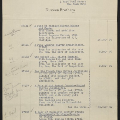 Invoice from Duveen Brothers to H.C. Frick, 20 February 1919 [page 1 of 7]