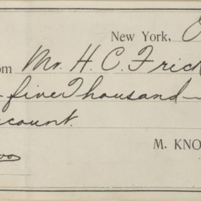 M. Knoedler & Co. Receipt, 29 October 1901