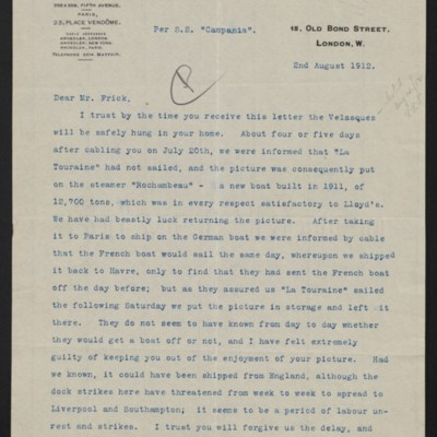Letter from C.S. Carstairs to [Henry Clay] Frick, 2 August 1912 [page 1 of 2]