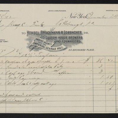 Invoice from Hensel, Bruckmann & Lorbacher to Henry Clay Frick, 29 December 1900