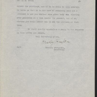 Letter from Bradley Stoughton to Henry C. Frick, 11 December 1918 [page 2 of 2]