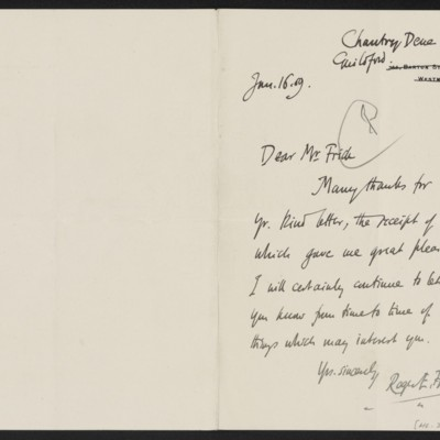 Letter from Roger E. Fry to Henry Clay Frick, 16 January 1909