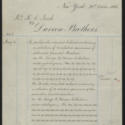Account Statement from Duveen Brothers, 18 October 1906