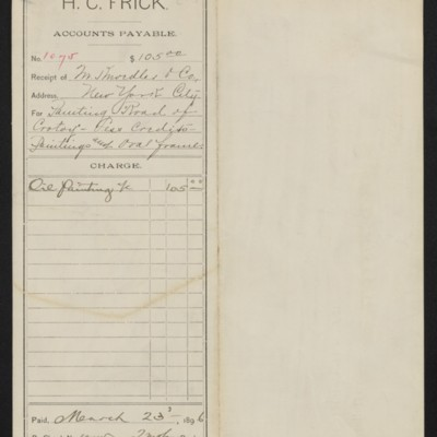 "Accounts payable voucher for purchase of ""Road of Crotoy"" by Jules Dupre, 23 March 1896"