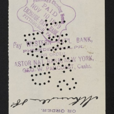 Check from Henry Clay Frick to M. Knoedler & Co., 3 November 1899 [back]