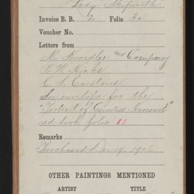 """Red envelope for Reynolds' """"Lady Skipwith,"""" [1906]"""