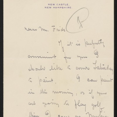 Letter from Edmund C. Tarbell to [Henry Clay] Frick, circa October 1910