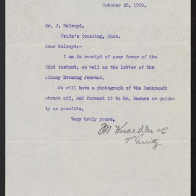 Letter from M. Knoedler & Co. to Joseph Holroyd, 23 October 1909
