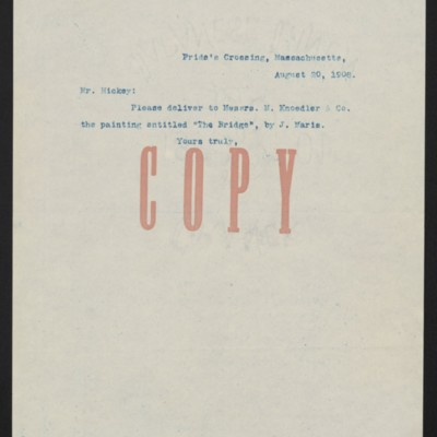 Letter from [Henry Clay Frick] to Mr. Hickey, 20 August 1908
