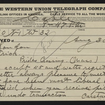 Cable from [Charles S.] Carstairs to [Henry Clay] Frick, 30 August 1906 [front]
