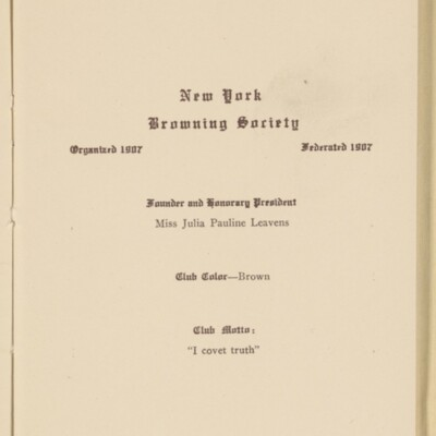 Directory of the New York Browning Society, Tenth Season, 1916-1917 [page 2 of 23]