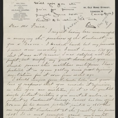 Letter from Charles Carstairs to Henry Clay Frick, 23 November 1906