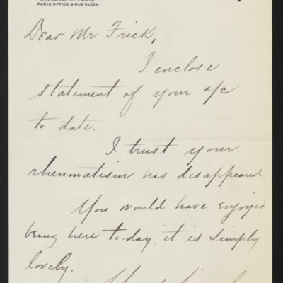 Letter from Charles S. Carstairs to Henry Clay Frick, 12 March 1903