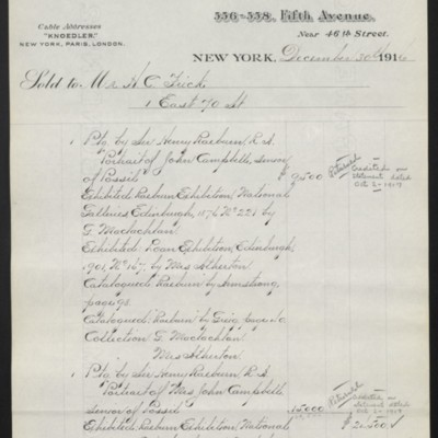 Invoice from M. Knoedler & Co. to Henry Clay Frick, 30 December 1916 [page 1 of 2]