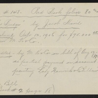 """Memo re purchase and return of """"The Bridge"""" by Maris, 1908?"""