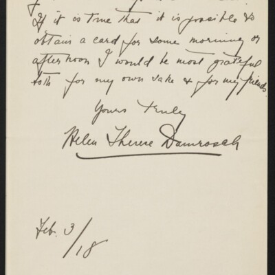 Letter from Helen Therese Damrosch to Henry Clay Frick, 3 February 1918 [page 2 of 2]