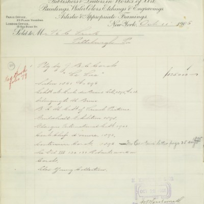 M. Knoedler & Co. Invoice, 11 October 1906