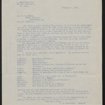 Letter from Charles S. Carstairs to F.W. McElroy, 1 February 1912
