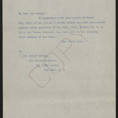Letter from Office of Estate of Henry Clay Frick to Joseph Duveen, 30 April 1920