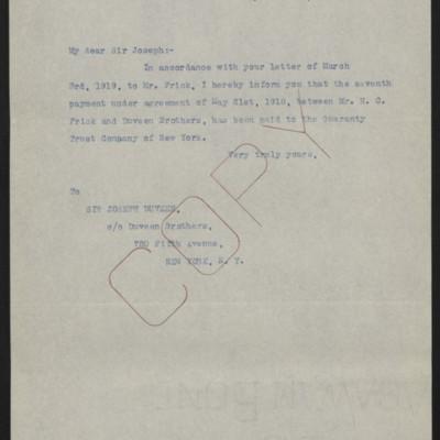 Letter fromOffice of Estate of Henry Clay Frickto Joseph Duveen, 30 April 1920