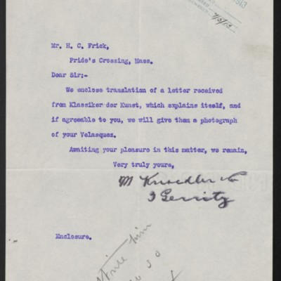 Letter from M. Knoedler & Co. to Henry Clay Frick, 1 July 1913