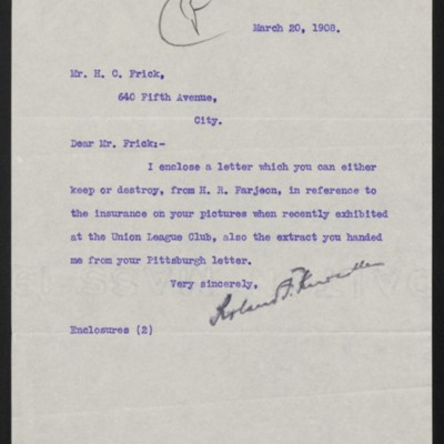 Letter from Roland F. Knoedler to Henry Clay Frick, 20 March 1908