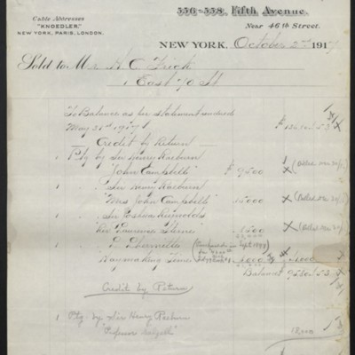Invoice from M. Knoedler & Co. to H.C. Frick, 2 October 1917