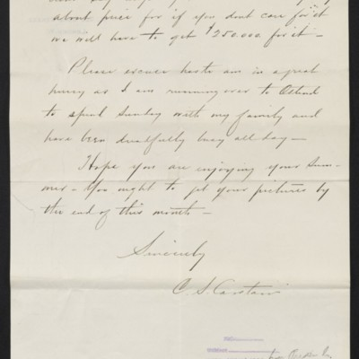 Letter from Charles S. Carstairs to Henry Clay Frick, 6 August 1909 [page 2 of 2]