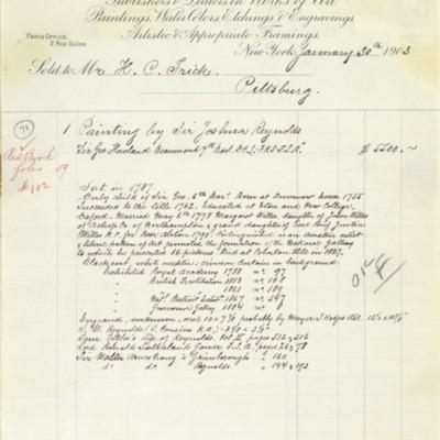 M. Knoedler & Co. Invoice, 30 January 1903