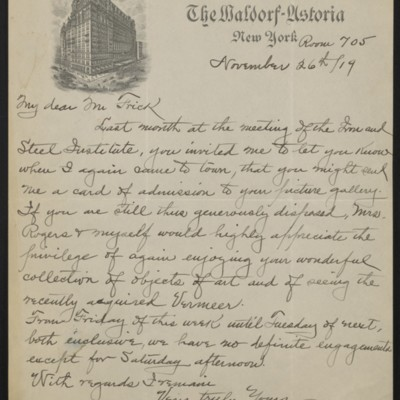 Letter from William A. Rogers to [H.C.] Frick, 26 November 1919