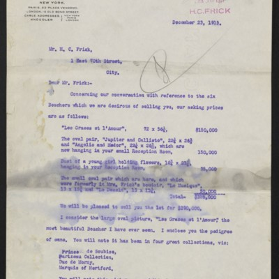 Letter from C.S. Carstairs to H.C. Frick, 23 December 1915, page 1 of 2
