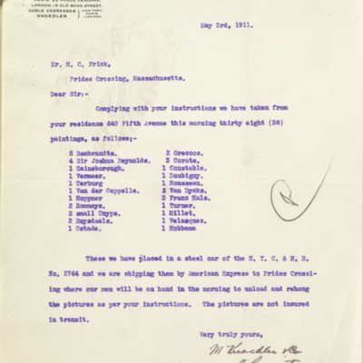 Letter from M. Knoedler & Co. to Henry Clay Frick, 3 May 1911