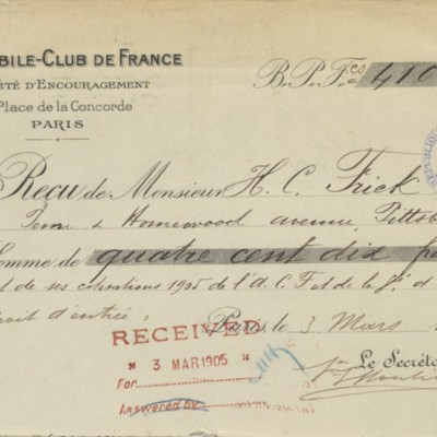 Receipt from the Automobile-Club de France, 3 March 1905