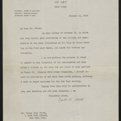 Letter from Edith R. Abbot to Henry Clay Frick, 11 January 1918