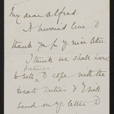 Letter from Lady Violet Ellesmere to Alfred [Anson], 22 February 1916