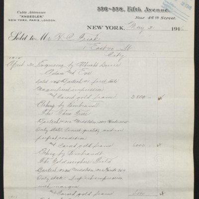 Invoice from M. Knoedler & Co. to Henry Clay Frick, 31 May 1916 [page 1 of 5]