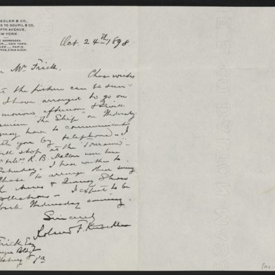 Letter from Roland F. Knoedler to Henry Clay Frick, 24 October 1898