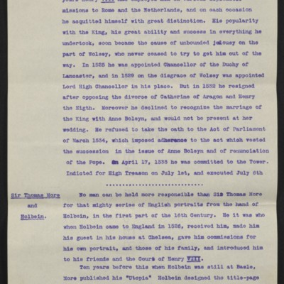 "Information regarding Hobein's ""Sir Thomas More,"" circa August 1912 [page 3 of 10]"