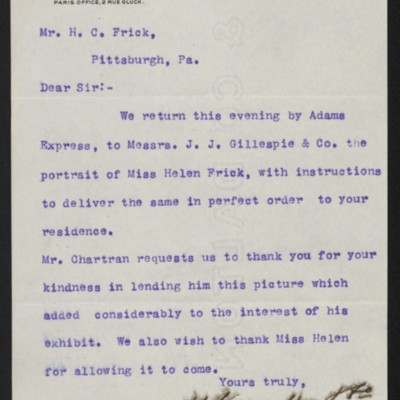 Letter from M. Knoedler & Co. to Henry Clay Frick, 1 February 1897