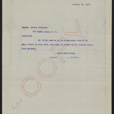 Copy of a letter from A. Braddel to Duveen Brothers, 15 January 1917