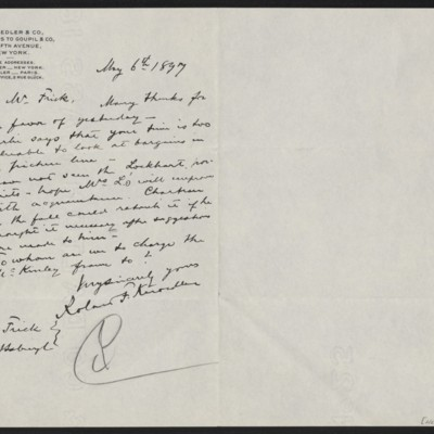 Letter from Roland F. Knoedler to Henry Clay Frick, 6 May 1897