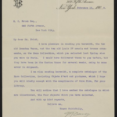 Letter fromH.J. Duveen to Henry Clay Frick, 19 February 1908