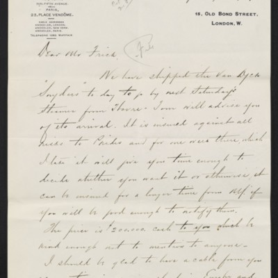 Letter from Charles Carstairs to [Henry Clay] Frick, 7 September 1909 [page 1 of 2]